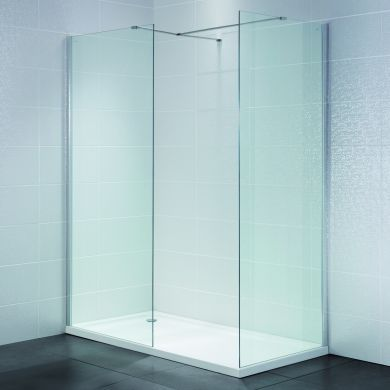 Frontline Identiti2 8mm Walk-In Clear Shower Glass Panel and Support Arm - 1000mm