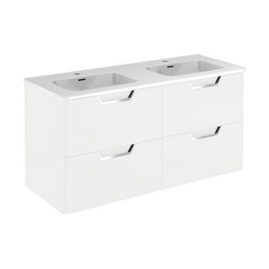 Frontline Royo Life 1190mm Four Drawer Wall Hung Vanity Unit and Double Basin