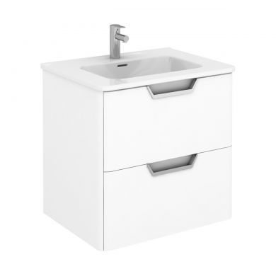 Frontline Royo Life 610mm Double Drawer Wall Hung Vanity Unit and Basin