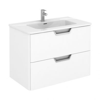 Frontline Royo Life 810mm Double Drawer Wall Hung Vanity Unit and Basin
