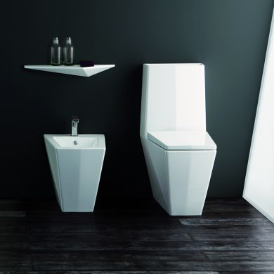 Olympia Crystal Designer Monoblocco Back To Wall Toilet - Main Image