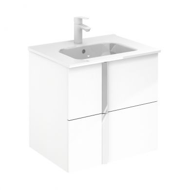 Frontline Royo Onix 610mm Double Drawer Wall Hung Vanity Unit and Ceramic Basin