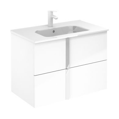 Frontline Royo Onix 810mm Double Drawer Wall Hung Vanity Unit and Ceramic Basin