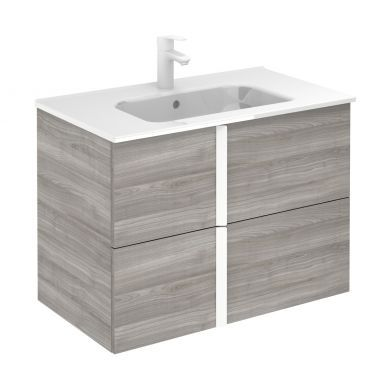 Frontline Royo Onix 810mm Double Drawer Wall Hung Vanity Unit and Ceramic Basin - Sandy Grey
