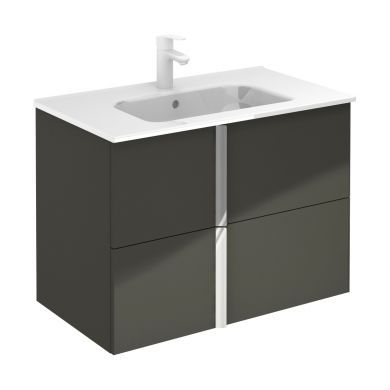Frontline Royo Onix 810mm Double Drawer Wall Hung Vanity Unit and Ceramic Basin - Gloss Grey