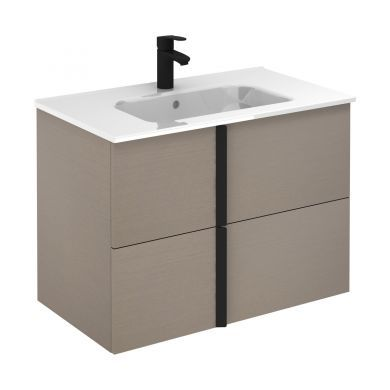 Frontline Royo Onix 810mm Double Drawer Wall Hung Vanity Unit and Ceramic Basin - Smoke