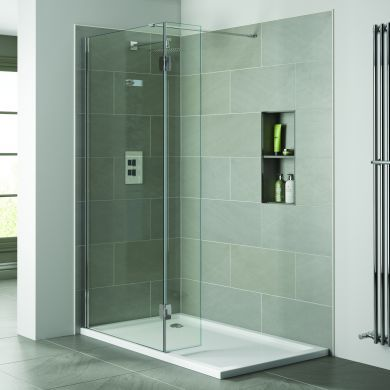 Frontline Prestige2 10mm Walk-In Clear Shower Glass Panel and Support Arm - 900mm