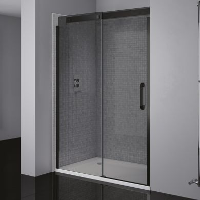 Frontline Prestige2 8mm Black Framed Left Hand Smoked Sliding Shower Door with Matt Black Handles - 1200mm