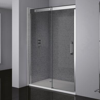 Frontline Prestige2 8mm Silver Framed Left Hand Smoked Sliding Shower Door with Satin Silver Handles - 1400mm