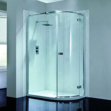 Frontline Prestige2 8mm Right Hand Offset Quadrant Shower Enclosure with Hinged Door - 900x760mm