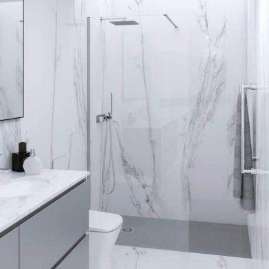 Rak Feeling Glass Shower Panel With Wall Profile and Bracing Bar