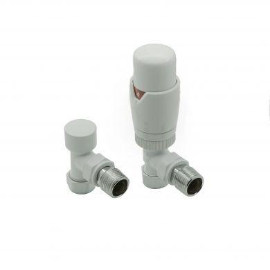 Modal TRV Thermostatic Angled White Valves with Lockshield