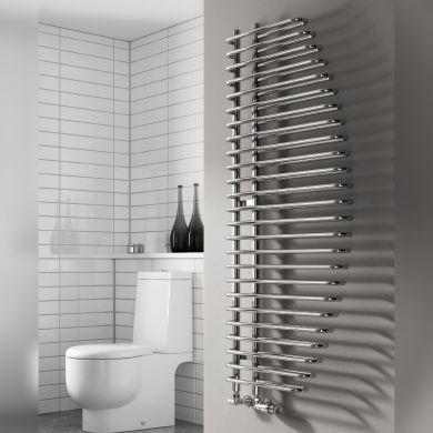 Reina Nola Chrome Designer Mild Steel Towel Radiator 1400x600mm