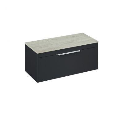 Britton Shoreditch 1000mm Single Drawer Vanity Unit With Minerva Worktop - Matt Grey - Concrete Haze