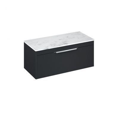 Britton Shoreditch 1000mm Single Drawer Vanity Unit With Minerva Worktop - Matt Grey - Carrara White