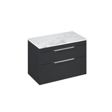 Britton Shoreditch 850mm Double Drawer Vanity Unit With Minerva Worktop - Matt Grey - Carrara White