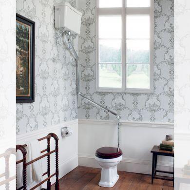 Burlington Standard High Level Toilet With 520 Dual Flush Ceramic Cistern and Angled Flush Pipe