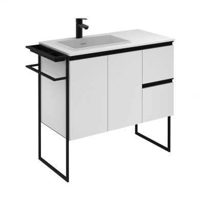 Frontline Royo Structure 910mm Double Door, Double Drawer Unit and Ceramic Basin