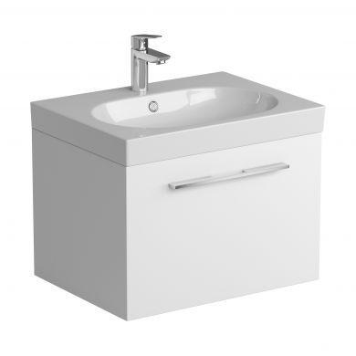Tissino Angelo 600mm Single Drawer Wall Hung Vanity Unit and Basin - Gloss White