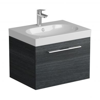 Tissino Angelo 600mm Single Drawer Wall Hung Vanity Unit and Basin - Barossa Oak