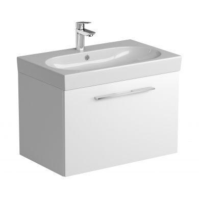 Tissino Angelo 700mm Single Drawer Wall Hung Vanity Unit and Basin - Gloss White