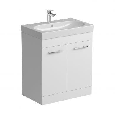 Tissino Angelo 700mm Two Door Floor Standing Vanity Unit and Basin - Gloss White