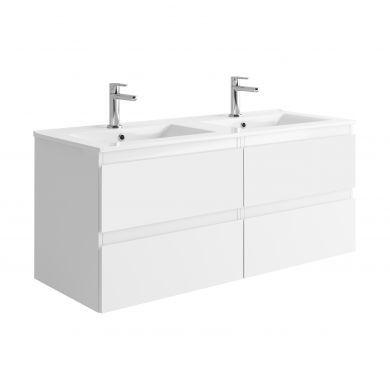 Tissino Catina 1200mm Four Drawer Wall Hung Vanity Unit and Double Basins - Matt White