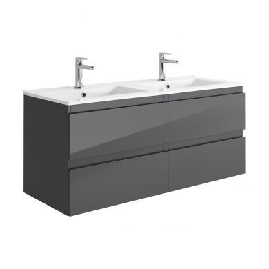 Tissino Catina 1200mm Four Drawer Wall Hung Vanity Unit and Double Basins - Gloss Graphite
