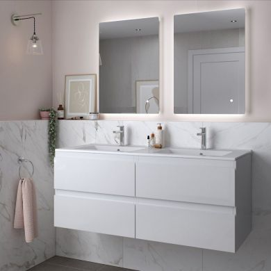 Tissino Catina 1200mm Four Drawer Wall Hung Vanity Unit and Double Basins