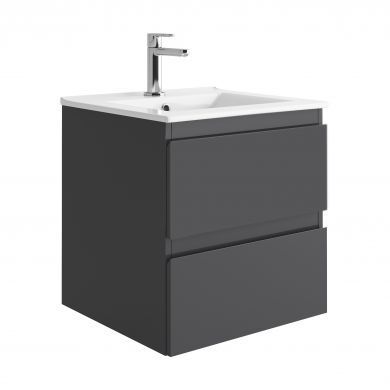 Tissino Catina 500mm Two Drawer Wall Hung Vanity Unit and Basin - Matt Graphite