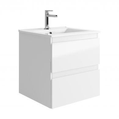 Tissino Catina 500mm Two Drawer Wall Hung Vanity Unit and Basin - Gloss White