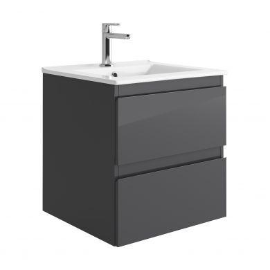 Tissino Catina 500mm Two Drawer Wall Hung Vanity Unit and Basin - Gloss Graphite