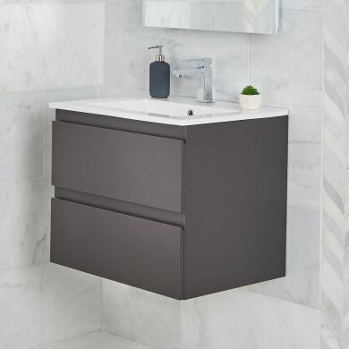 Tissino Catina 500mm Two Drawer Wall Hung Vanity Unit and Basin