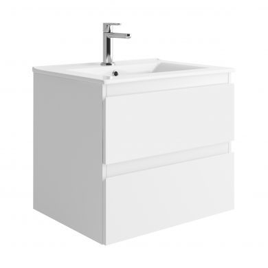 Tissino Catina 600mm Two Drawer Wall Hung Vanity Unit and Basin - Matt White