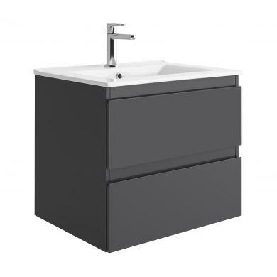 Tissino Catina 600mm Two Drawer Wall Hung Vanity Unit and Basin - Matt Graphite