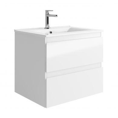Tissino Catina 600mm Two Drawer Wall Hung Vanity Unit and Basin - Gloss White
