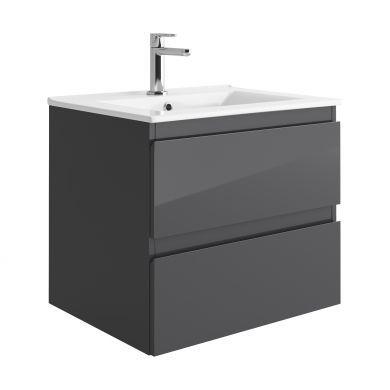 Tissino Catina 600mm Two Drawer Wall Hung Vanity Unit and Basin - Gloss Graphite