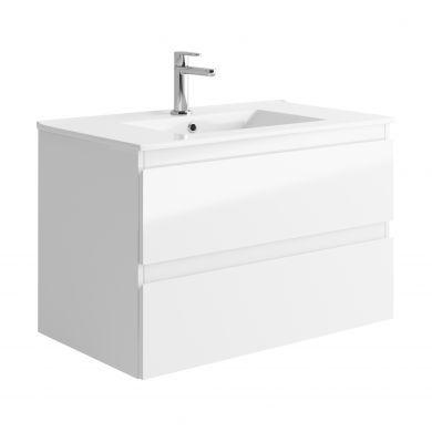 Tissino Catina 800mm Two Drawer Wall Hung Vanity Unit and Basin - Gloss White
