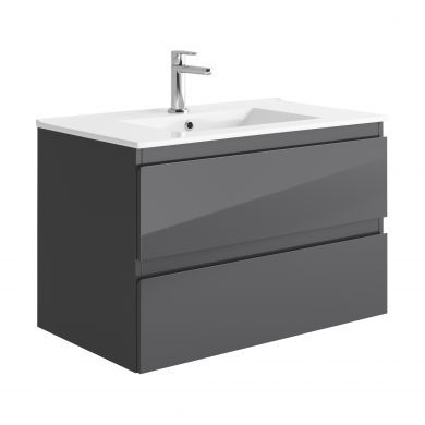 Tissino Catina 800mm Two Drawer Wall Hung Vanity Unit and Basin - Gloss Graphite