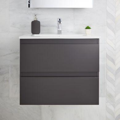 Tissino Catina 800mm Two Drawer Wall Hung Vanity Unit and Basin