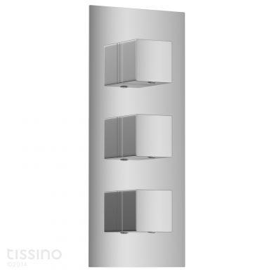 Tissino Mario Triple Square Handles Thermostatic Shower Valve
