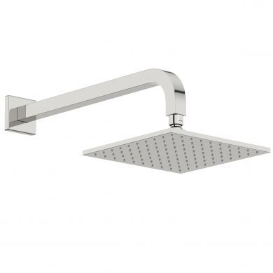 Tissino Mario Square Wall Mounted Curved Shower Arm and Shower Head