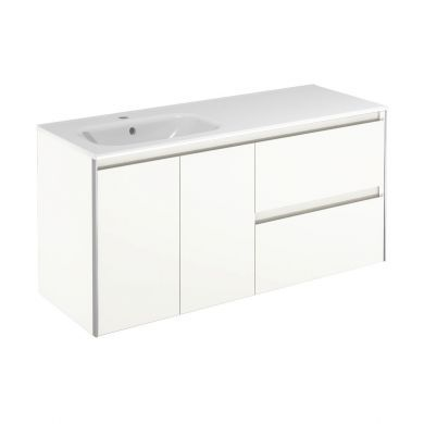 Frontline Royo Valencia 1210mm Double Drawer, Double Door Wall Hung Vanity Unit and Basin