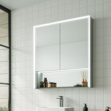 HiB Verve 80 Double Door LED Illuminated Steam Free Mirrored Cabinet - 800x900mm