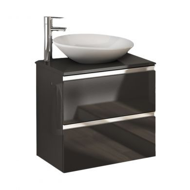 Frontline Royo Vida 595mm Double Drawer Wall Hung Vanity Unit - Anthracite