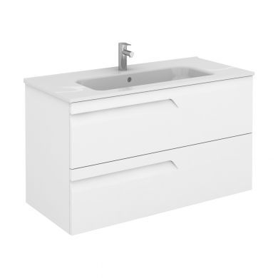 Frontline Royo Vitale 1010mm Double Drawer Wall Hung Vanity Unit and Square Ceramic Basin