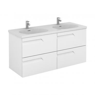 Frontline Royo Vitale 1210mm Four Drawer Wall Hung Vanity Unit and Double Square Basin