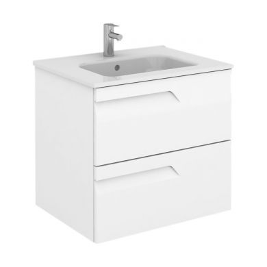 Frontline Royo Vitale 610mm Slimline Double Drawer Wall Hung Vanity Unit and Square Basin