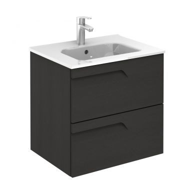Frontline Royo Vitale 610mm Slimline Double Drawer Wall Hung Vanity Unit and Square Basin - Urban Grey