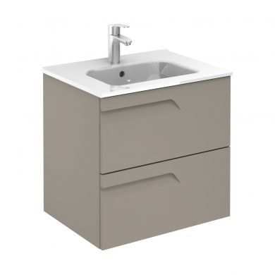 Frontline Royo Vitale 610mm Slimline Double Drawer Wall Hung Vanity Unit and Square Basin - Smoke